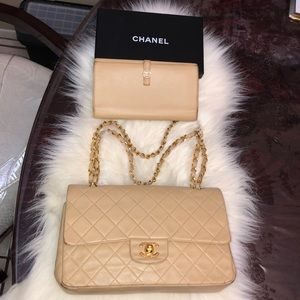 Authentic Chanel Medium Double Flap And Wallet Set